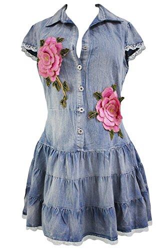 Mesdames Denim Bouton avant niveaux robe avec applique roses Club d'été Porter Casual Party danse Porter Taille M UK 10–12–EU 38–40