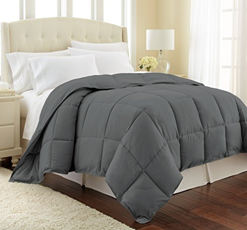 Southshore Fine Linens - Vilno Springs - Down Alternate Medium Weight Comforter - Slate, Full/Queen