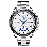 LONGBO Men's Unique Big Face Dial Analog Quartz Business Watch Military Waterproof Stainless Steel Band Wrist Watch Special Blue Hands Decorative Chrono Eyes Sport Watches for Man White