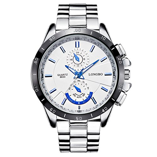 LONGBO Men's Unique Big Face Dial Analog Quartz Business Watch Military Waterproof Stainless Steel Band Wrist...