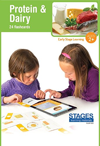 Stages Learning Materials Link4Fun Protein & Dairy Flashcards for iPad Preschool Language Builder Cards for Vocabulary, Reading, Autism, ABA Education