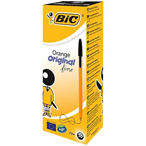 (Bic Orange Ball Pen 0.8mm Tip 0.2mm Line Black Ref 1199110114 [Pack of 20])