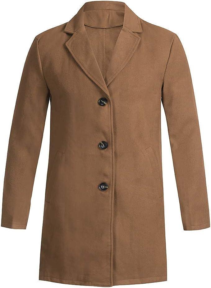 waotier Cárdigans Hombre Trench Coat Otoño Color sólido Abrigo ...