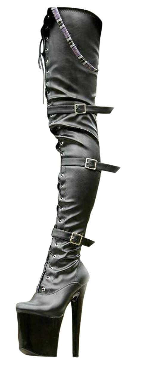 Erogance Leder Optik Plateau High Heels Crotch Overknee Stiefel A3528L EU 36-43