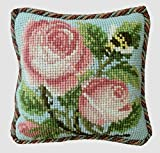 Rose and Bee Mini Needlepoint Tapestry Kit from Elizabeth Bradley premium English small needlework project with 100% wool yarns.