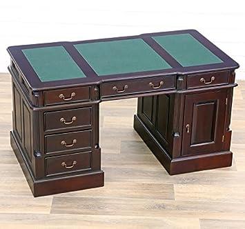 MOREKO Schreibtisch Massivholz Mahagoni Tisch Schreibeinlage grün ...