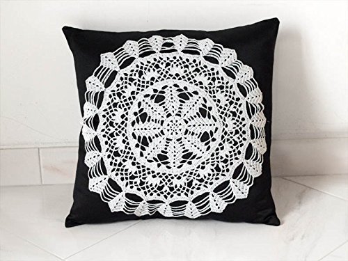 Black and white Pillow Cover With Crocheted Doily Applique OOAK HANDMADE