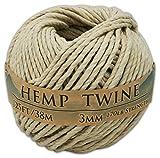 3mm Natural Hemp Twine - 125 Feet / 38 Meters - 100% Hemp