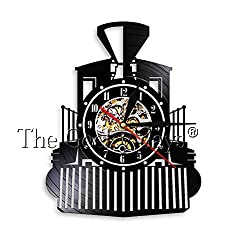 GEDASHU Vinyl Wall Clock Vintage Steam Engines Train Locomotive Vinyl Record Wall Clock Retro Railway Engine Express Train Vehicle Room Decor Art Clock