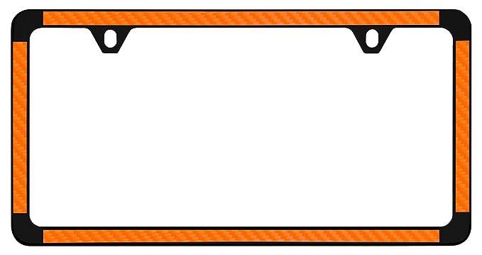 Orange Simulated Carbon Fiber On Black Powder Coated Thin Rim License Plate Frame Holder
