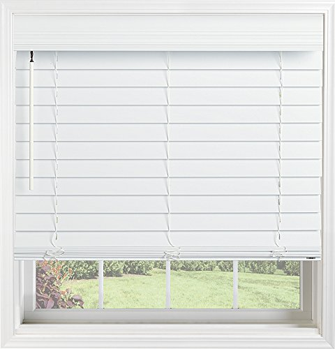 Bali Blinds Custom Faux Wood 2 Inch Cordless Blinds with Wand Tilt, White, 28.5 X (Bali Faux Blinds)