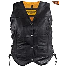 Dream Apparel Womens Motorcycle Black Leather Vest with 7 Pockets Single Panel Back Side Lace