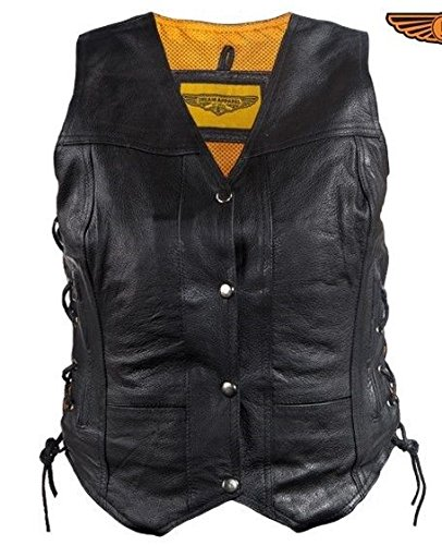 Women's Motorcycle Black Leather Vest With 7 Pockets Single Panel Back Side Lace(3XL) by Dream Apparel