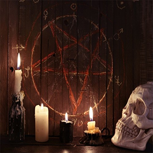 AOFOTO 5x5ft Scary Skull and Burning Candles Photography Background Gloomy Gothic Style Backdrop Halloween Evil Pentagram On Wooden Board Kid Boy Girl Artistic Portrait Photo Studio Props -
