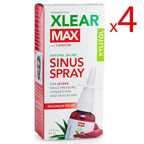 (XLEAR MAX Nasal Spray, 1.5oz, 4 Pack, New! Natural Formula With Xylitol, Capsicum, and Aloe for Maximum Relief From Severe Sinus Pressure, Congestion, Headaches, and)