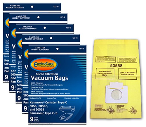 EnviroCare Replacement Vacuum Bags for Kenmore Canister Type C or Q 50555, 50558, 50557 and Panasonic Type C-5 45 - Vacuum Bags C5