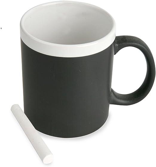 Taza pizarra con tiza. De cerámica apta para microondas. Regalo ...