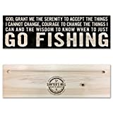 Sawyer's Mill Inc. Serenity Prayer - God Grant Me the Serenity To Go Fishing. - Handmade Wood Block Sign for Home Wall Decor
