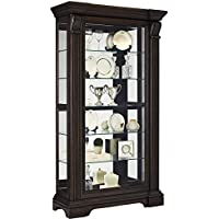 Pulaski P021583 Caldwell Traditional Sliding Front Door Curio Display Cabinet, 47 x 18 x 83, Acacia Brown