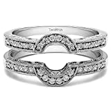 1/5 ct. Diamonds (G-H,I2-I3) Oval Shaped Halo Style Ring Guard in Sterling Silver (0.21 ct. twt.)