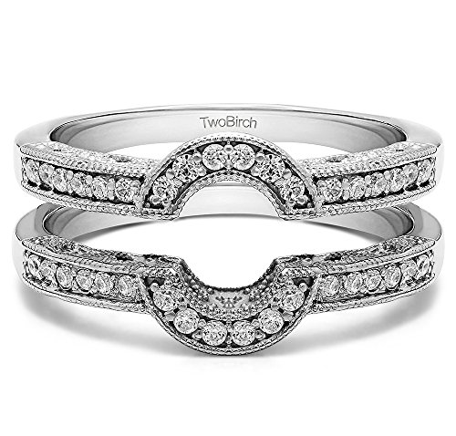 - TwoBirch Oval Shaped Halo Style Ring Guard with 0.21 carats of Cubic Zirconia in Sterling Silver