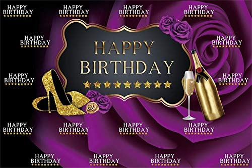 AOFOTO 6x4ft Purple Roses Happy Birthday Bakcdrop for Ladies Woman Golden High Heels Glass of Champagne Background for Photography Mother 30th 40th Bday Bash Celebration Photo Studio Props Vinyl
