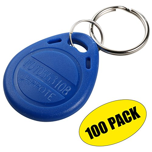 UHPPOTE Proximity EM4100 EM4102 125KHz RFID ID Card Tag Token Key Chain Keyfob Read Only Color Blue pack of (Pre Programmed Card)