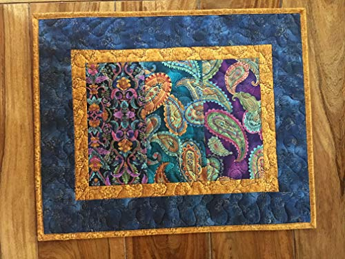Paisley Blue Purple Gold Quilted Table Topper, Jewel Tones Reversible Dining Coffee Table Mat 17x21 in. ()
