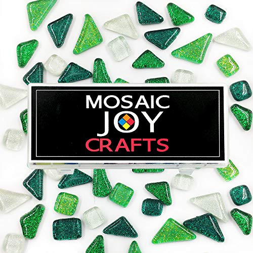 Mosaic Tiles for Crafts Iridescent Green Assorted Colors Mosaic Tiles Glitter Crystal Mosaic for Home Decoration Crafts Supply Assorted Shapes, Triangle, Rohmbus,Square Mixed