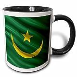 3dRose Flag of Mauritania waving in the wind - Two Tone Black Mug, 11oz (mug_175359_4), 11 oz, Black/White