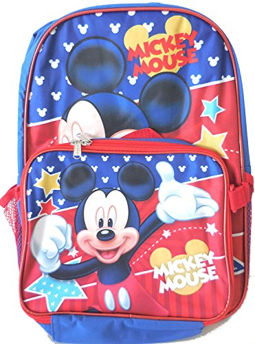 Disney Mickey Mouse Large Backpack with Detachable Lunch Kit (Mickey Mouse Head Lunch Box With Thermos)