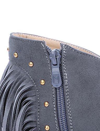 XZZ/ Damen-Stiefel-Outddor / Büro / Lässig-Kunstleder-Stöckelabsatz-Reitstiefel / Modische Stiefel-Schwarz / Grau gray-us9.5-10 / eu41 / uk7.5-8 / cn42