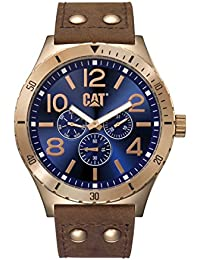 Mens Camden 48 Quartz Stainless Steel and Leather Casual, Color:Brown (