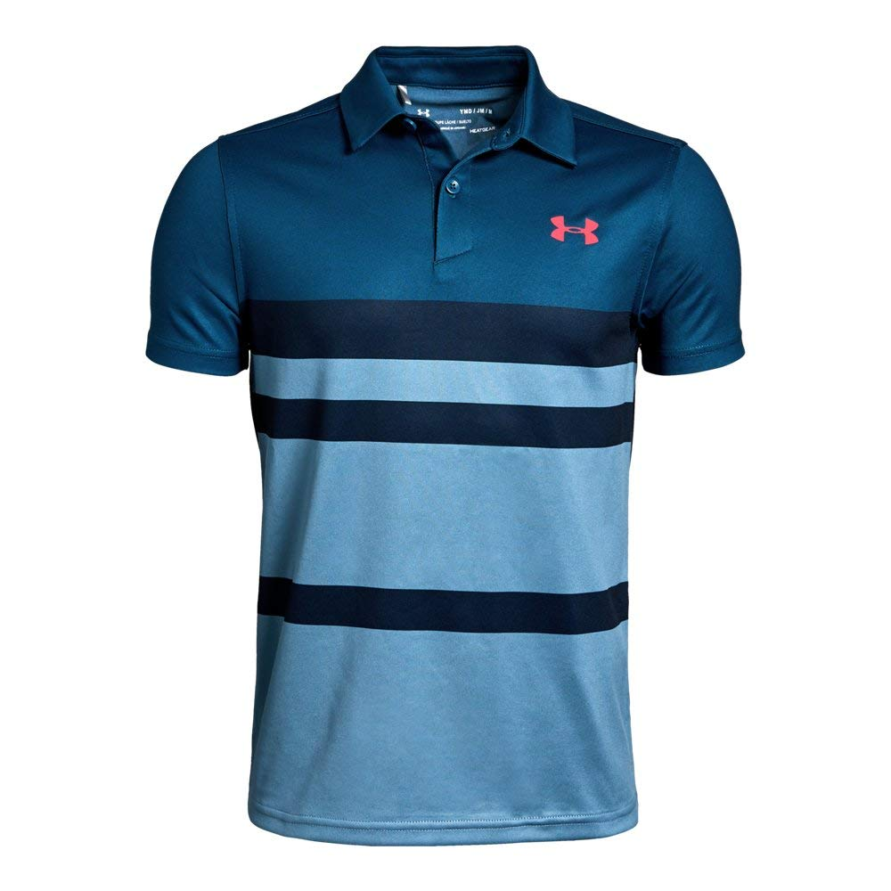 Under Armour Tour Tips Engineered Polo, Petrol Blue//Blitz Red, Youth Large