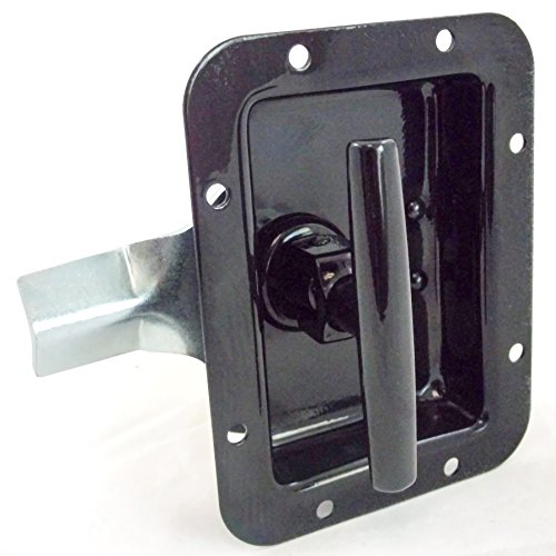 RV Paddle Lock Black Folding T Handle fits Travel Trailer Compartments Utility Body Underbody Box Replacement for some OEM (Box Underbody Utility)