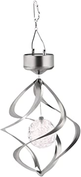 Solar Power LED Light Wind Spinner Chimes Spiral Garden Courtyard Hanging Lamp