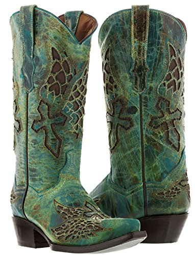 Cowboy Professional - Women's Turquoise Wings & Cross Cowboy Boot 9 Medium (B,M) ()