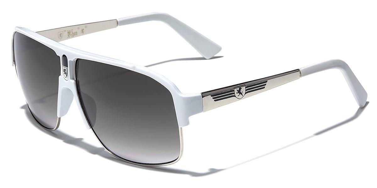 Silver - White Men's Sport Sunglasses Fashion Aviators Retro Classic Shades