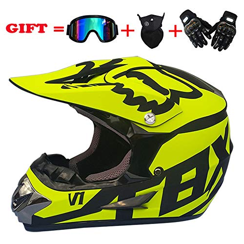 Price comparison product image yaning Full Face Motorcycle Helmet with Shield Mask & Gloves and Glove Combo Motorcycle Street Dirtbike MX