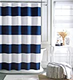Tommy Hilfiger Cabana Stripe Shower Curtain - Navy Blue and White -72 X 72