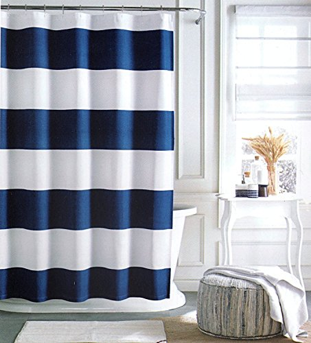 Cabana Stripe Shower Curtain (Tommy Hilfiger Cabana Stripe Shower Curtain - Navy Blue and White -72 X)