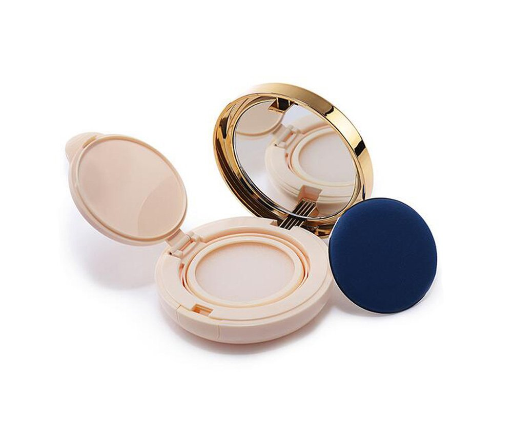 15ml 0.5oz Empty Luxurious Empty Refillable Circular Powder Puff Box Portable Magic Cushion Make-up Powder Container With Air Cushion Sponge Powder Puff and Mirror for BB CC Liquid Foundation Cream erioctry