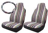 Baja Inca Saddle Blanket High Back Bucket Seat Covers Pair with Steering Wheel Cover Set