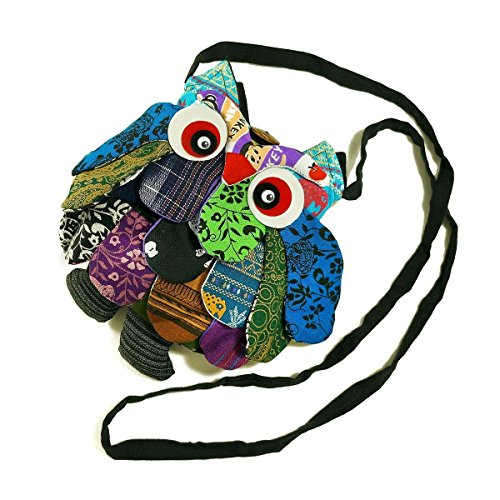 TOP Asian Souvenirs Owl Cross-Body Bags Square Adorable Patchwork 10""