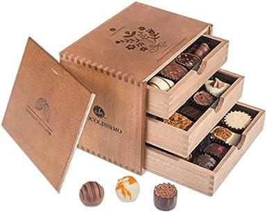 ChocoGrande - Ladies - 30 exclusivos Surtido De Pralinés | bombones Praliné | regalo en caja de madera | sabores | Chocolate | Cumpleaños | Mujer | Dia de la madre | San valentín | Dulces navideños: Amazon.es: Alimentación y bebidas