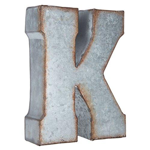 Grey Letters - Generic Galvanized Metal 3D Letter K,Grey Metal