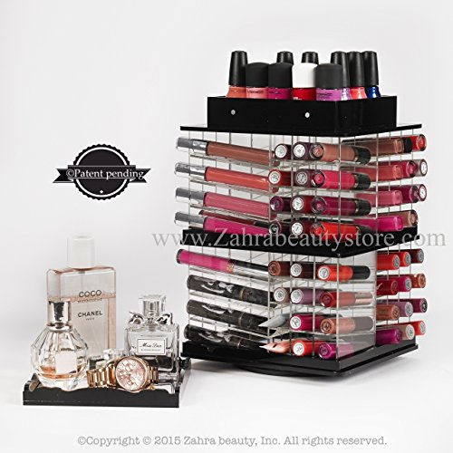 Zahra Beauty Store Spinning Lipgloss Towers- Acrylic Lipstick Holders- Different Colors Are Available...patent Pending (Noir ( black)) - The Liquid Patent Lip