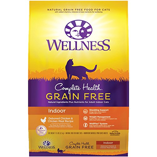 Wellness Complete Health Grain Free Natural Dry Cat Food, Indoor Chicken Recipe, 11.5-Pound Bag by Wellness Natural Pet Food