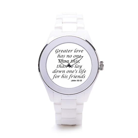hiyane cerámica reloj de pulsera Biblia versos sobre fe blanco/plateado: Amazon.es: Relojes