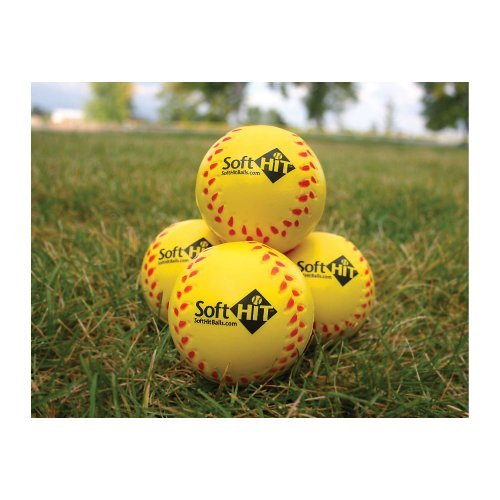 Soft Hit Seamed Foam Practice Softballs - Yellow (6 Pack) by Soft Hit